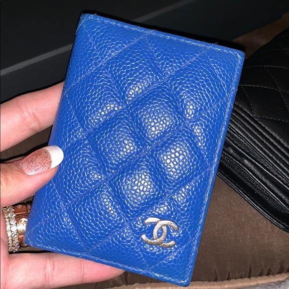 fc58e06361cb CHANEL Accessories | Card Holder Id Wallet Card Case Blue | Poshmark